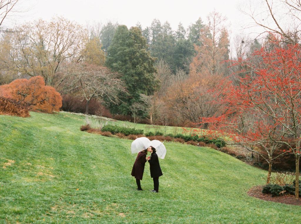 Biltmore Estate Engagement photo on rainy day