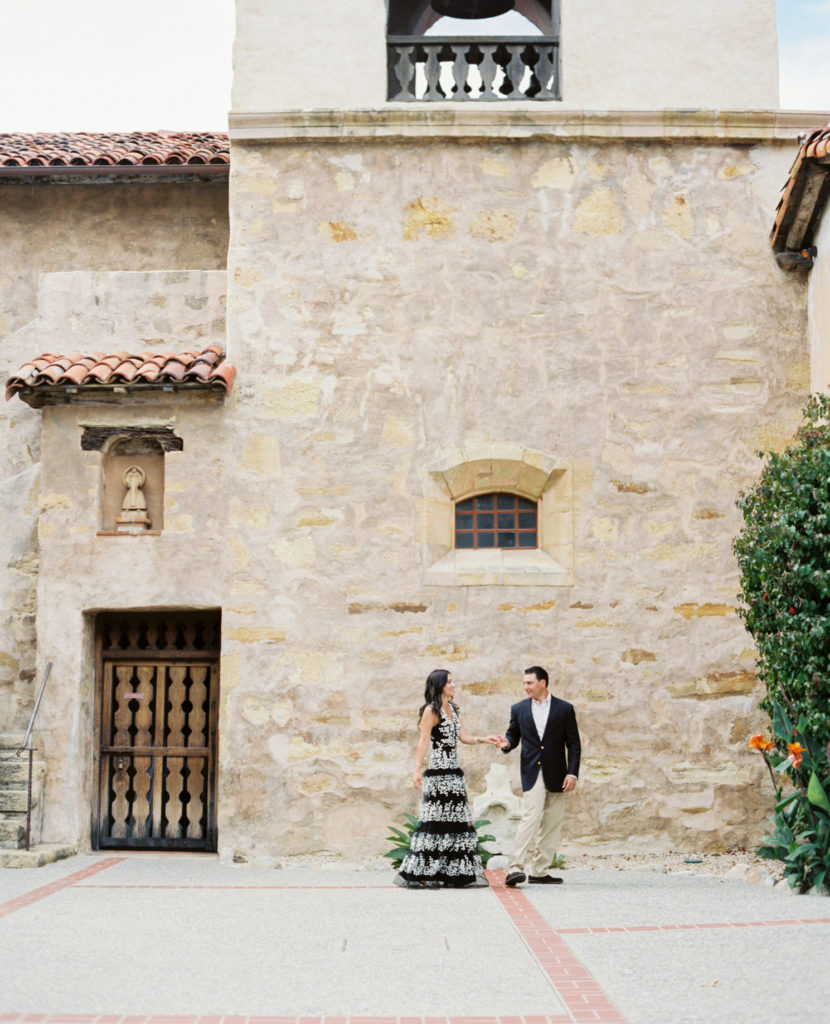 engagement photo at carmel mission basilica