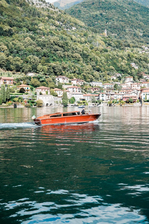 boat on lake Como film photographer